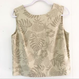 Tommy Bahama 100% Silk Tropical Palm Pineapple Top